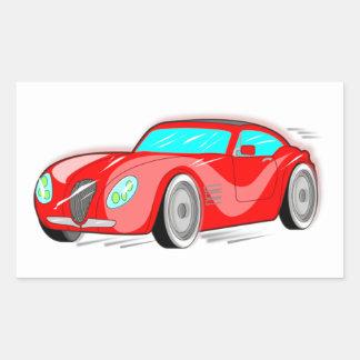 Fancy Red Cartoon Sports Car Rectangular Sticker