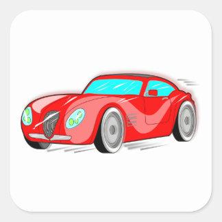 Fancy Red Cartoon Sports Car Square Sticker
