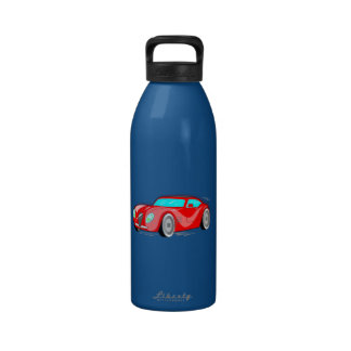 Fancy Red Cartoon Sports Car Drinking Bottles