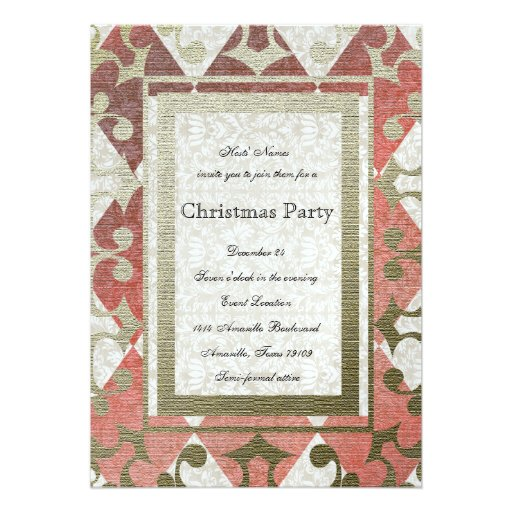 Fancy Red Gold Harlequin Medieval Party Invitation