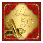 Fancy Red Gold High Heel Fabulous 50th Birthday Invitation