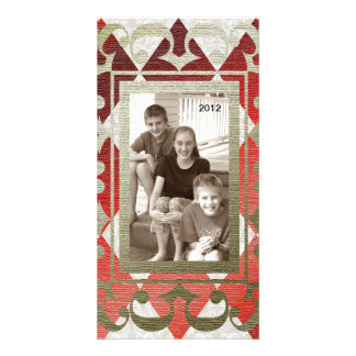 Fancy Red Gold Metallic Christmas Photo Card