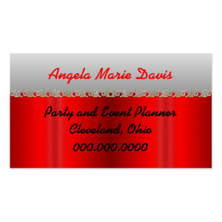 Fancy Red Gray & Jeweled Business Appointment Card Business Card