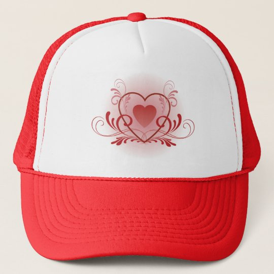 Fancy Red Heart Trucker Hat