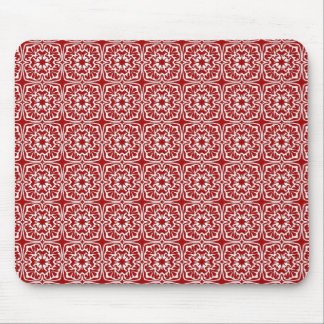 Fancy Red Holiday Damask Pattern  Mouse Pad