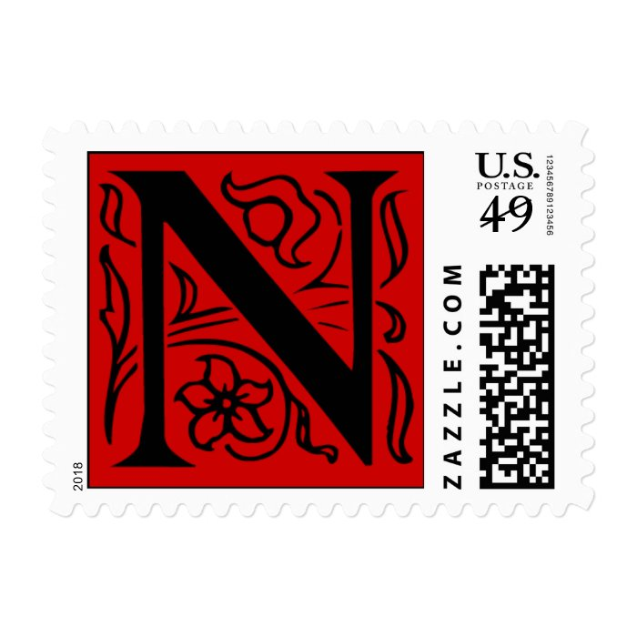 Fancy Red Letter N Postage Stamps