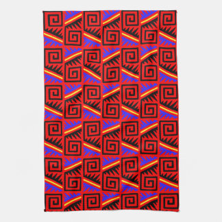 Fancy Red Mexican Pattern Hand Towel