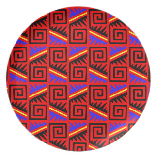 Fancy Red Mexican Pattern Party Plates