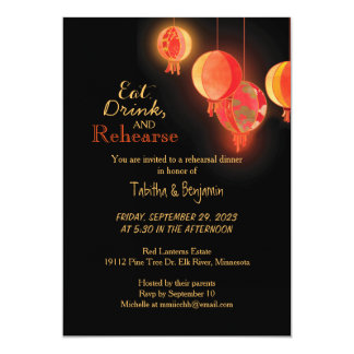 Fancy Red Paper Lanterns Wedding Rehearsal Dinner Card