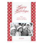 Fancy Red Pattern Christmas Photo Personalized Invite