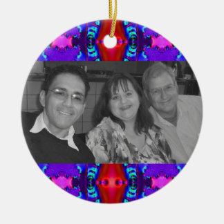 fancy red purple photoframe ceramic ornament