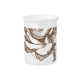 Fancy Rose Bloom Drawing Drink Pitchers