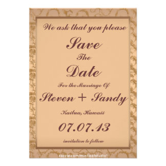Fancy Rose Gold Filigree Save The Date Notice Custom Announcement