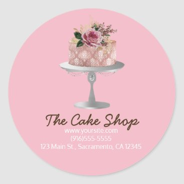 Professional Business Fancy Rose Gold Floral Cake Bakery Sticker Label