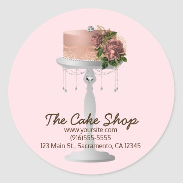 Professional Business Fancy Rose Gold Floral Cake on Stand Bakery Classic Round Sticker