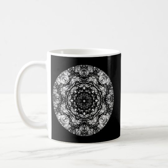 Fancy Round Design on Black. Coffee Mug
