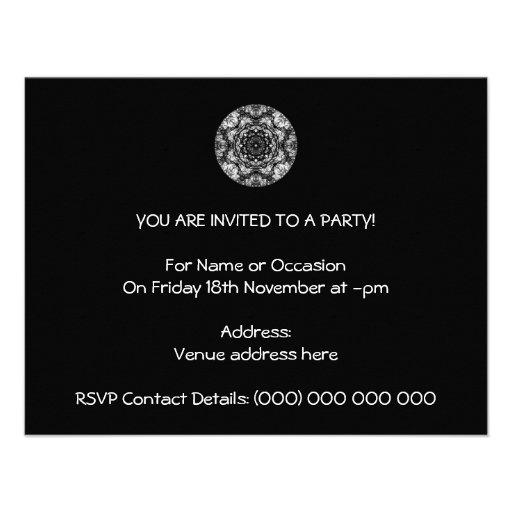 Fancy Round Design on Black. Invitations