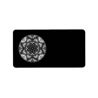 Fancy Round Design on Black. Label