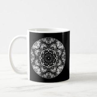 Fancy Round Design on Black. Classic White Coffee Mug