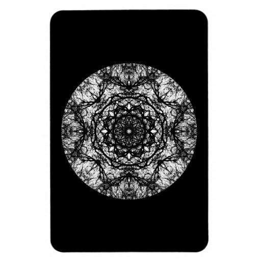 Fancy Round Design on Black. Rectangular Photo Magnet