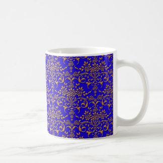 Fancy Royal Blue and Gold Damask Pattern Coffee Mug