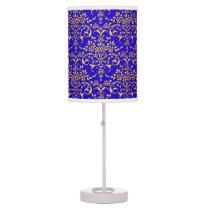 Fancy Royal Blue and Gold Damask Pattern Desk Lamp
