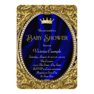 Fancy Royal Blue and Gold Prince Baby Shower Card
