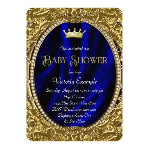 fancy royal blue and gold prince baby shower card zazzle