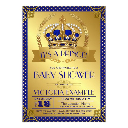 Fancy royal blue gold prince baby shower invitation zazzle fancy royal blue gold prince baby shower invitation filmwisefo
