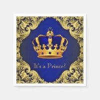 Fancy Royal Blue Gold Prince Baby Shower Paper Napkin