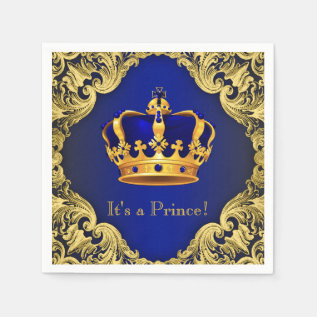 Fancy Royal Blue Gold Prince Baby Shower Paper Napkin at Zazzle