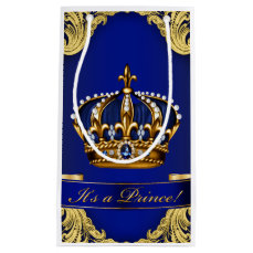 Fancy Royal Blue Gold Prince Baby Shower Small Gift Bag