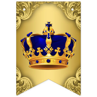 Fancy Royal Blue Gold Prince Crown Baby Shower Bunting Flags