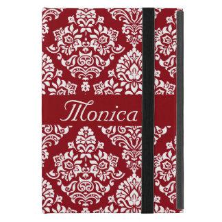 Fancy Royal Damask Pattern Monogram Burgundy Case For iPad Mini