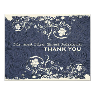 Fancy Rustic Blue Leather Thank You Card