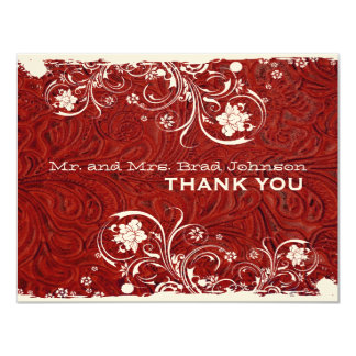 Fancy Rustic Red Leather Thank You Card