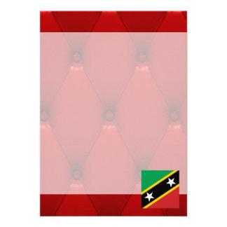 """Fancy Saint Kitts and Nevis Flag on red velvet bac 5"""" X 7"""" Invitation Card"""