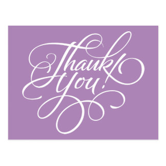 Fancy Script African Violet Thank You Card