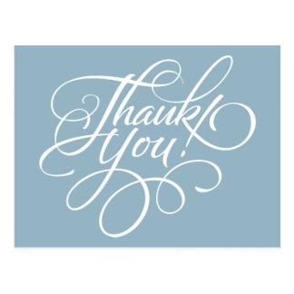 Fancy Script Aquamarine Blue Thank You Card