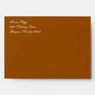 Fancy Script Brown A7 Return Address Envelopes