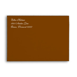 Fancy Script Chocolate Brown A7 Return Address Envelope