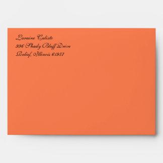Fancy Script Coral A7 Return Address Envelopes