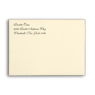 Fancy Script Cream A7 Return Address Envelopes