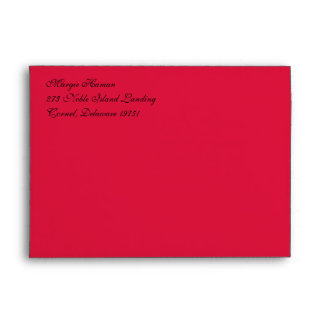 Fancy Script Crimson A7 Return Address Envelopes