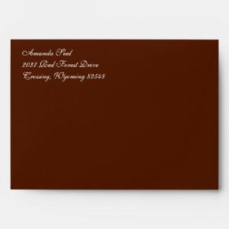 Fancy Script Dark Brown A7 Return Address Envelope