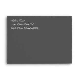 Fancy Script Dark Gray A7 Return Address Envelopes