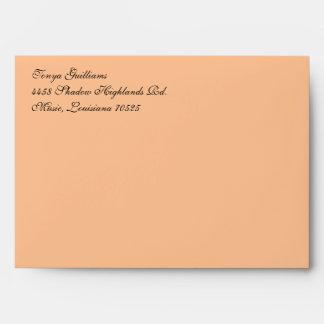 Fancy Script Dark Peach A7 Return Address Envelopes