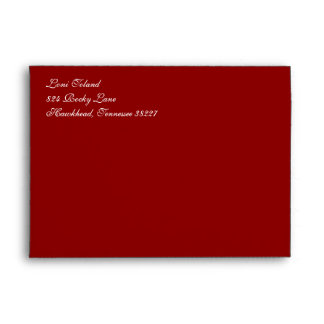 Fancy Script Dark Red A7 Return Address Envelopes