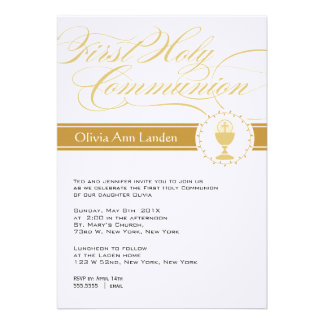 Fancy Script First Communion Invitations Gold
