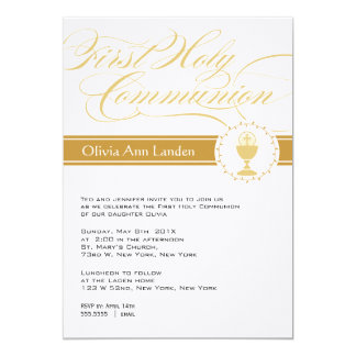 Fancy Script First Communion Invitations  |  Gold